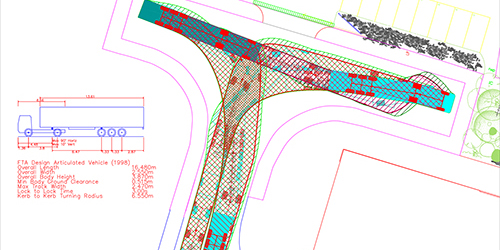 vehicle swept path templates - lorry turning cycle dwg