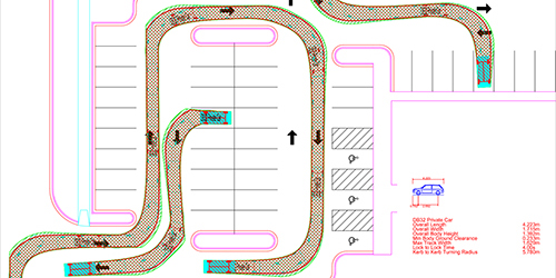 Vehicle swept path analysis of a car in a car park created by jp-transport-highway-consultant.co.uk
