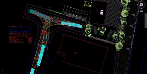 Vehicle swept path analysis of an articulated lorry performing a manoeuvre in a tight space created by jp-transport-highway-consultant.co.uk