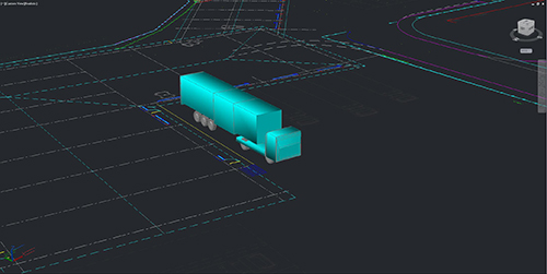 A 3d model of a vehicle swept path analysis of an articulated lorry created by jp-transport-highway-consultant.co.uk