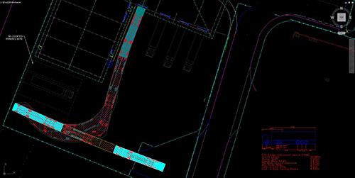 Vehicle swept path analysis of an articulated lorry created by jp-transport-highway-consultant.co.uk