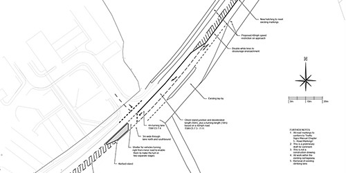 AutoCad drawing for a transport statement to submit with planning application drawn by jp-transport-highway-consultant.co.uk