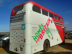 Betsy the bus for Homes For Britain campaign supported by jp-transport-highway-consultant.co.uk in Cornwall